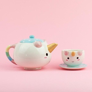 Smoko ElodieユニコーンティーポットServing Set with One Cup and Saucer