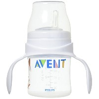 Philips Avent BPA Free Classic Bottle to First Cup Trainer, 4+ Months 取っ手付き 哺乳瓶 120ml ピンク