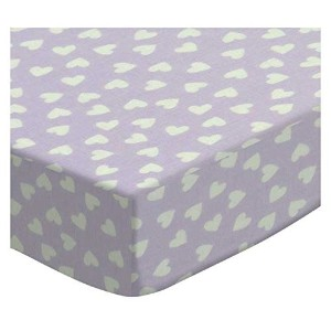 SheetWorld Fitted Pack N Play (Graco) Sheet - Hearts Pastel Lavender Woven - Made In USA by...