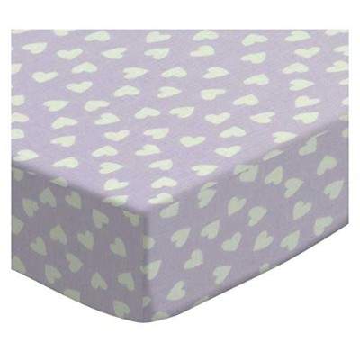 SheetWorld Fitted Cradle Sheet - Hearts Pastel Lavender Woven - Made In USA by sheetworld