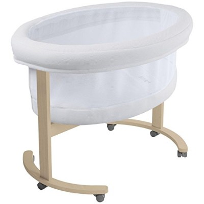 Micuna Smart Fresh Wooden and Fabric Bassinet, Natural/White by Micuna