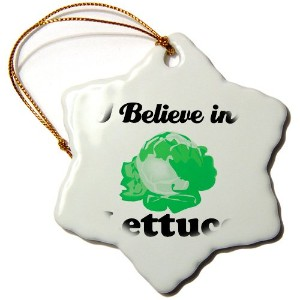 3drose Dooni Designs I Believe In – I Believe In Lettuce – Ornaments 3 inch Snowflake Porcelain...