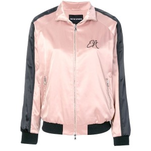 Emporio Armani embroidered bomber jacket - ピンク&パープル