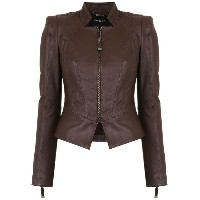 Tufi Duek leather panelled jacket - ブラウン