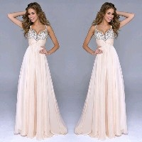 Women V-Neck Sequins Chiffon Prom Gown Foraml Evening Party Long Dress