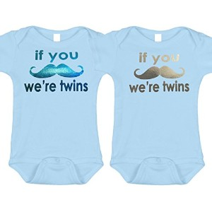 If You口ひげWe 're Twins ( Includes 2ボディスーツ、または2Tシャツ) 0-3 months ブルー bluemustachetwin03