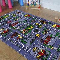 Kids / Daycare /教室/ Playroom Area Rug–Great for Playing with Cars–再生、Learn and Have Fun安全に明るくカラフ...