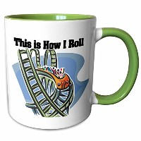 3drose Dooni Designs面白いとユーモアデザイン – This is How I Roll Roller Coaster – マグカップ 11-oz Two-Tone Green...