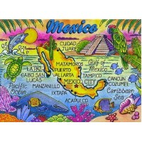 Mexico Map Caribbean Fridge Collector's Souvenir Magnet 2.5 X 3.5 by World By Shotglass