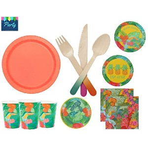 Fiesta Party Supplies TropicalテーマLarge & Small Plates Napkins Cups & 12ゲストの木製カトラリー