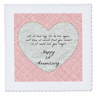 BrooklynMeme Love Saying–1st Anniversary Love You With Faux paper-like背景とデザイン–キルト正方形 14x14 inch...