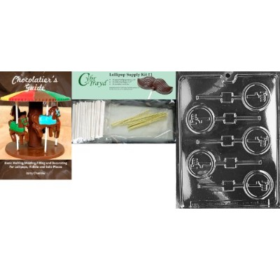 """Cybrtrayd """"私は1Lolly」文字と数字チョコレート金型with Chocolatierのバンドル、Includes 25Lollipopスティック、25Cello Bags and..."""