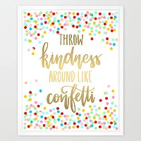 eleville 8 x 10 Throw Kindness Around Like Confetti Realゴールド箔と花柄水彩アートプリント枠なしQuote印刷ウォールアートホームデコレーション...