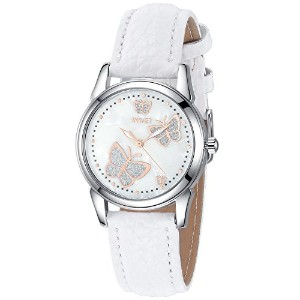 InwetバタフライWomen 's Quartz Watch with Mother of Pearl Dial andホワイトレザーストラップ