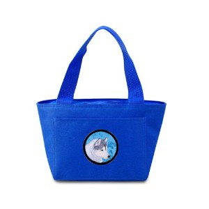 Carolines Treasures SS4740-BU-8808 Blue Siberian Husky Zippered Insulated School Washable And Stylish Lunch Bag Cooler