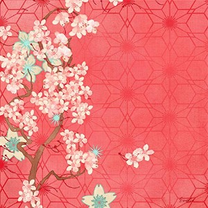 """Marmont Hill 12月Cherry Blooms by Evelia Painting Wrappedキャンバスの印刷、18"""" x 18"""""""