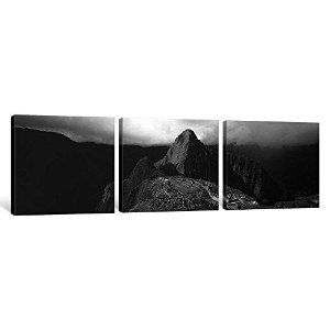 """iCanvasART 3Piece Ruins、Machu Picchu、ペルー(ブラック&ホワイト)キャンバスプリントbyパノラマ写真、48by 16"""" / 1.5"""" Deep"""