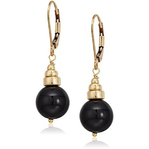 BobbyドロップイヤリングfeaturingブラックOnyx with Polished Gold Filled RondellとレバーBacksクリップオンイヤリング