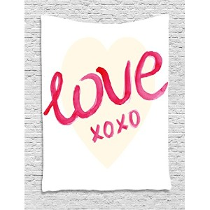 XOインテリアタペストリーby Ambesonne、Love Typography on Heart Figure with KissesシンボルLetters Romance印刷...