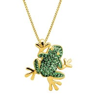 Crystaluxe Frogペンダントネックレスwith Swarovski Crystals in 18K金メッキスターリングシルバー