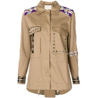 Pinko beaded and stud military jacket - ヌード&ナチュラル