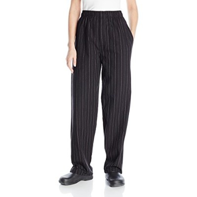 Uncommon Threads 4003-2702 Yarn Dyed Baggy Chef Pant in Red and white Pinstripe - Small