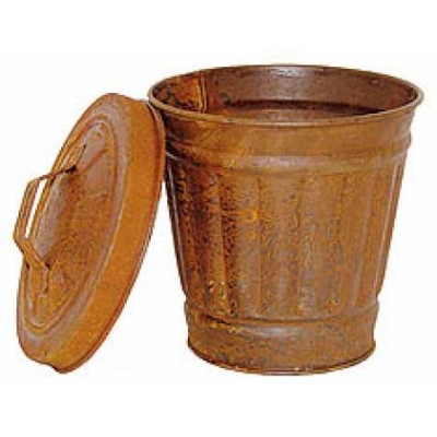 Set of 2 Rusted Metal Mini TrashCans with Lids