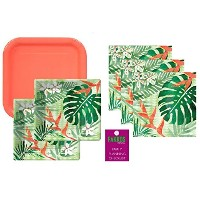 Fiesta Party Supplies LuauフラミンゴプールPalm Trees Disposable Tableware for 16Guests Including Dinner...