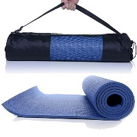"""Masioneヨガマット6mm厚PVC高密度パッドwith Carryバッグ68"""" x24"""" for Fitness Exerciseヨガキャンプ ブルー"""