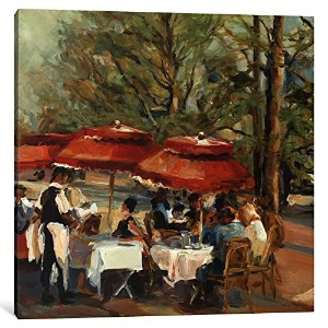 """iCanvasART 1Piece Lunch on the Champs Elyseesキャンバスプリントby Marilyn Hageman、26"""" x 26"""" / 1.5""""奥行"""
