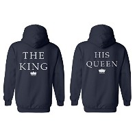 The King His Queen Crown Minimal Couple Matching Valentines Love Navy Men Women Unisex Hooded...