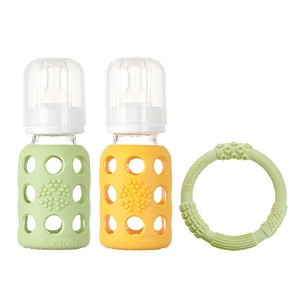 Lifefactory BPA-Free Glass Baby Bottle Gift Set with Two 4-Ounce Glass Bottles and Silicone Teether...