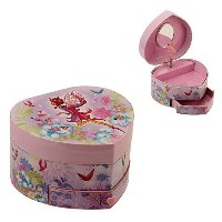 Heart Shaped Musical Fairy Girl Jewelry Box with Drawer By Haysom Interiors by Haysom Interiors