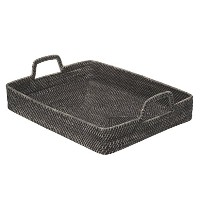 KOUBOO長方形high-walled Serving Tray in Rattan、ブラックWash