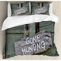 Huntingインテリア布団カバーセットby Ambesonne、GoneハンティングWritten on木製ボード古いWorn Out CottageドアSeasonal趣味、装飾寝具セットwith...