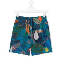 Paul Smith Junior TEEN tropical-print swim shorts - ブルー
