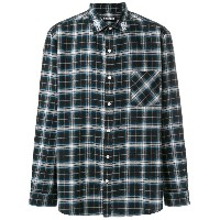 Adaptation Dog Town embroidered checked shirt - ブラック