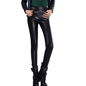 Linyuan ファッション Women Sexy Faux Leather Skinny Shinny Leggings PU Leather Stretch Pencil Pants パンツ