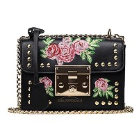 トートバック/ショルダーバック/ハンドバック/Women Shoulder Bag PU Leather Floral Embroidery Rivet Messenger Handbag...
