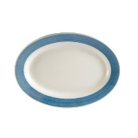 CAC中国レインボーRolled Edge Colored Stoneware Oval Platter 15-1/2-Inch by 10-Inch ブルー R-51-BLU