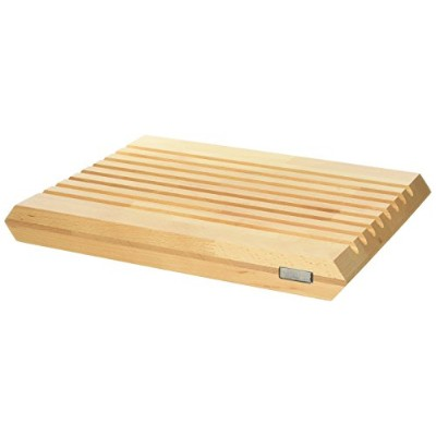(Large, Natural) - Artelegno Solid Beech Wood Dual Sided Bread Board with Crumb Troughs and Cutting...