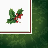 Conventional HollyクリスマスBeverage Napkins 181パック