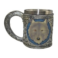 KW CollectibleギフトCo。MedievalグレーLone Wolf HeadコーヒーMug CupロイヤルルネッサンススタイルDrinking Tankard Stein