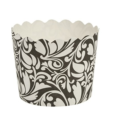 Blue Sky 1263 16 Count Scalloped Design Cupcake Baking Cups, Large, Black/White by Blue Sky