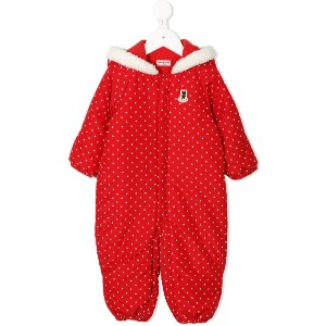 Miki House polka-dot padded snowsuit - レッド