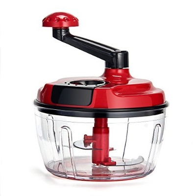 Momugs 8 Cup Red Food Processor, Manual Hand-Powered crank Large Chopper Mincer Blender Mixer...