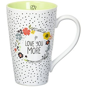 Love You More by Amylee週間54201Latte Mug Cup、ホワイト