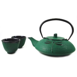 JapanBargain s-2105、鋳鉄Dragonfly Teaセットwith五徳、18オンス、ダークグリーン