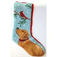 "Yellow Labrador Retriever Mistletoe Hooked Wool Largeクリスマスストッキング – 13 "" x 21 """