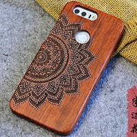 Huawei Honor8 Case, Handmade Rosewood Wooden Sculture Texture Cover, TAITOU Ultra Slim Thin...